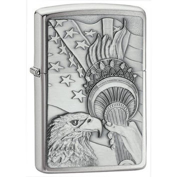 Zippo Lighter Set - Joined Forces Emblem and Something Patriotic Emblem Street Chrome, Pack of Two