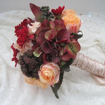 Mixed Fall Bridal Wedding Bouquet Hydrangea Roses Protea and Sedum French Knotted with Blush Satin Ribbon Bride Bridesmaid Elopement Bouquet