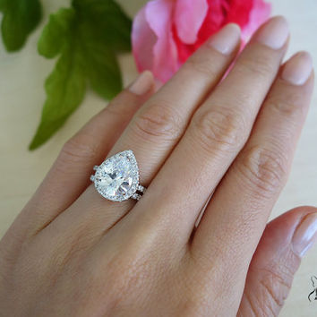 3.5 Carat Pear Cut Halo Engagement Ring   Wedding Band bbb9107ee