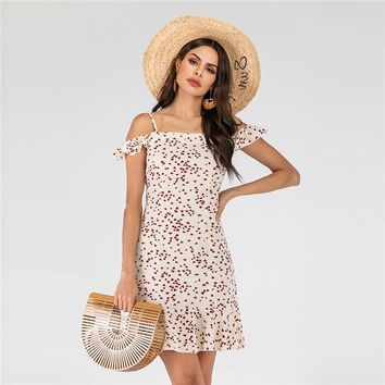 2019 new printed strap dress