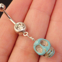 Turquoise Stone Skull Belly Button Ring