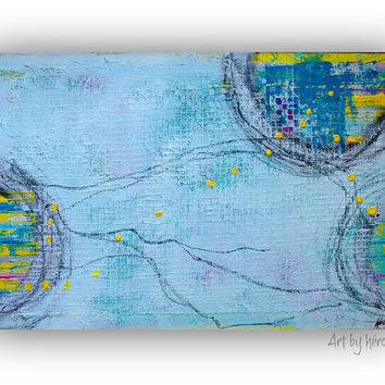 Large Abstract Painting - Blue Wall Art -  Mixed Media Art on canvas 24x36