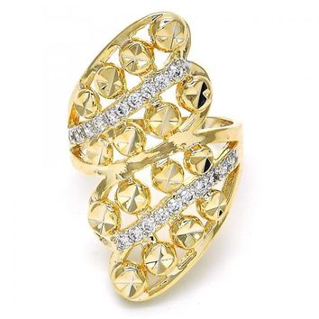 Gold Layered Multi Stone Ring, Heart Design, with Cubic Zirconia, Two Tone