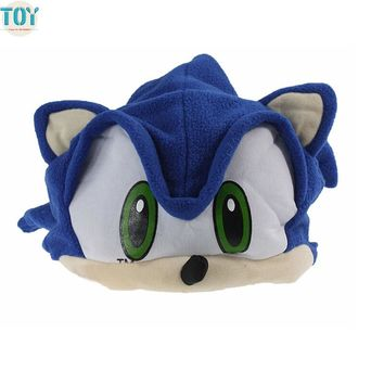 OHMETOY Sonic The Hedgehog Fleece Blue Cosplay Cap For Man Boy Adults Teenagers Plush Hat Cosplay Anime Costumes Brinquedos