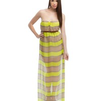 Stripe Neon Maxi Dress
