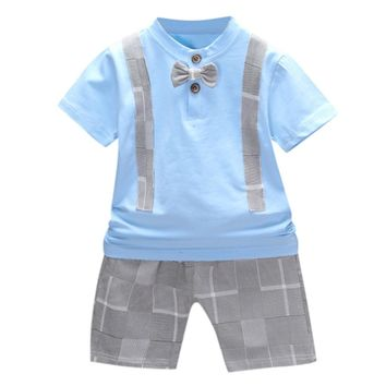 Plaid Bow Outfits Set For Toddler Baby Boy