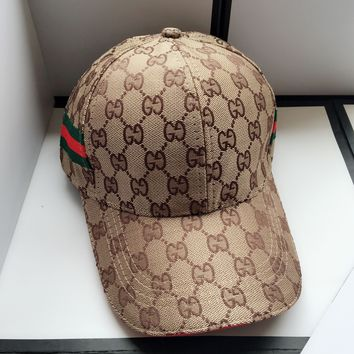 GUCCI Fashionable Women Men Casual Sports Sun Hat Baseball Cap Hat Khaki