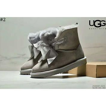 UGG 2018 new ribbon bow short tube women's shoes snow boots #2