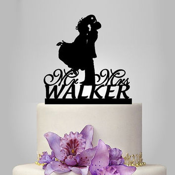 Wedding Cake Topper silhouette, Monogram cake topper, Personalized wedding cake topper, Mr and Mrs cake topper , funny Wedding Cake Topper,