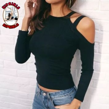 New fashion solid color long sleeve top sweater Black