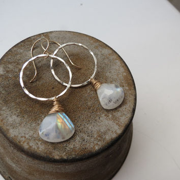 Rainbow Moonstone Sterling Silver and Gold Filled  Earrings