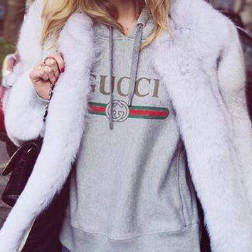 GUCCI : Hooded head letter stamp leisure loose sweater