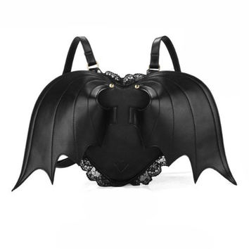 Goth Punk Black Bat Wings Backpack