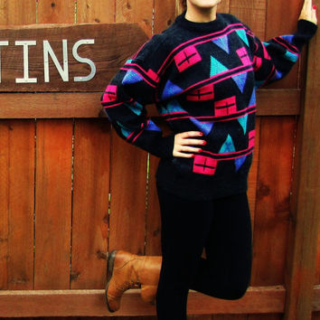 vintage wool blend pullover geometric hipster cosby sweater. Paris Sports Club