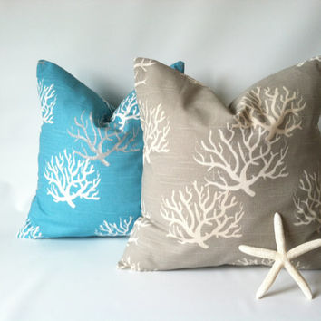 Nautical Pillow Cover Set - 18 x 18, Set of Two, Aqua Taupe Beach Pillows, Ocean Decor, Sea Coral Pillow, Beach Decor, Turquoise Nautical