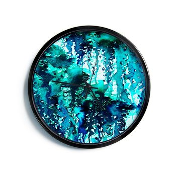 "Ebi Emporium ""The Perfect Storm - Turquoise"" Blue Teal Painting Modern Wall Clock"