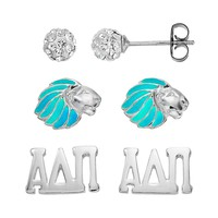 Sunstone 925 Sterling Silver Alpha Delta Pi Sorority Stud Earring Set