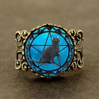 Alice In Wonderland Black Cat Ring wiccan collar Wicca Pentagram blue Glass Ring cristal colgante Wicca collar