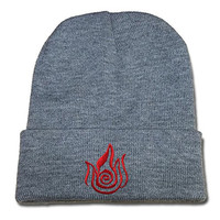 DEBANG Avatar The Last Airbender Logo Beanie Unisex Embroidery Knitted Hats Skullies Skull Caps Beanies Grey