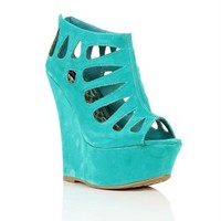 Turquoise Laser Cut Out Wedges