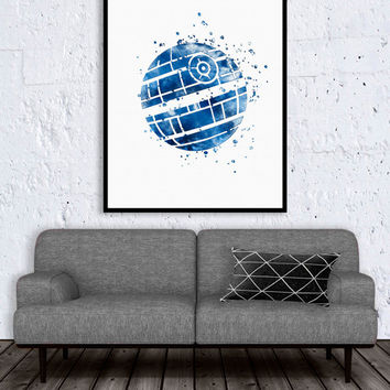 ON SALE: Star Wars Print, Death Star print, star wars art, star wars artwok, star wars wall art, star wars decor watercolor art, living room