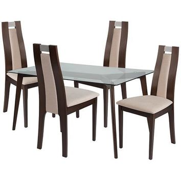 Patterson 5 Piece Espresso Wood Dining Table Set with Glass Top and Curved Slat Wood Dining Chairs - Padded Seats