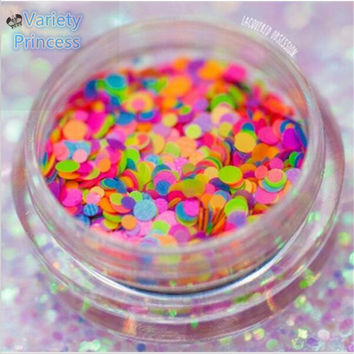 1 Box Nail Glitter Multicolor 1-2mm Mixed DIY Decoration Mini Round Thin Paillette Design Nail Art Glitter Nail Supplies  LP001