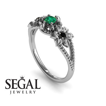 Unique Engagement Ring 14K White Gold Flowers Art Deco Filigree Ring Green Emerald With Black Diamond - Kennedy