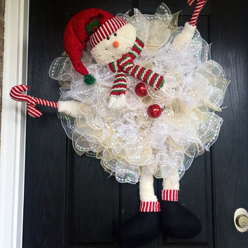 Snowman Wreath, Snowman Deco Mesh Wreath, Snowman Mesh Wreath, Front Door Wreath, Winter Snowman Wreath, Winter Wreath