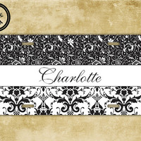 Vanity monogrammed license plate - Black and white damask with name - personalized custom monogram car tag (9733)