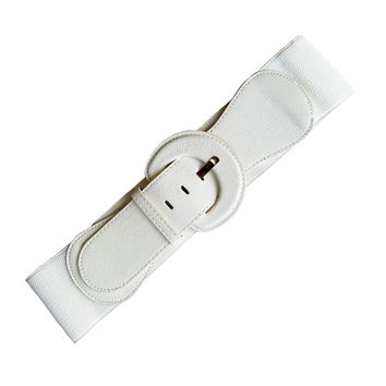 White PU Cinch Belts