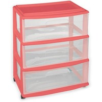 Homz Wide 3-Drawer Cart with Casters, Coral Fire - Walmart.com