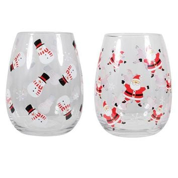 Santa and Snowman Stemless Wine Glasses (Sold Separately)