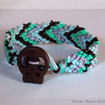 Chevron bracelet , macrame bracelet , Sugar skull bracelet, colorful bracelet , summer's must ,friendship bracelet, sugar skull
