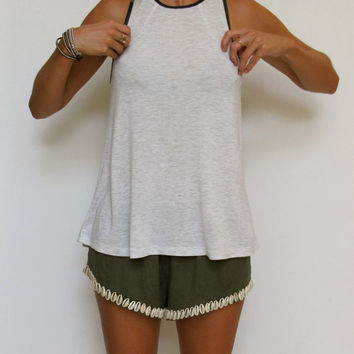 Khaki Linen Sea Shell Shorts - Beach Shorts with Embellishment - Ladies Fashion