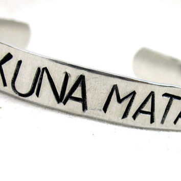 Hakuna Matata Bracelet - Hand Stamped Aluminum Bracelet - adjustable, customizable