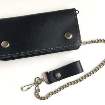 Black Leather Biker Wallet / Leather Chain Wallet / Leather Trucker Wallet  / Leather Snap Wallet / Hermann Oak