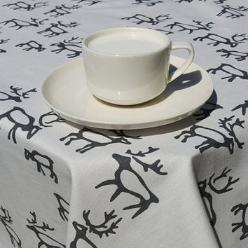 Tablecloth white grey deers Scandinavian Design , runner , napkins , curtains , pillows available, great GIFT