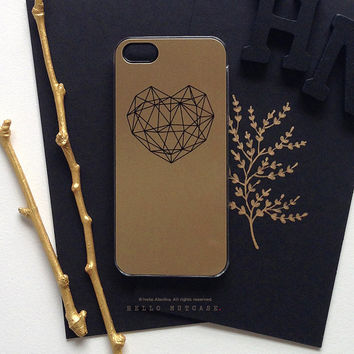 iPhone 6 Case Heart, iPhone 5 Gold Metallic Case, iPhone 5s Black Heart Case, iPhone 4s Case, Geometric iPhone Case, TOUGH iPhone Cover M5
