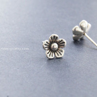 Earrings-925 Sterling Silver Flower earrings,retro flower stud earrings