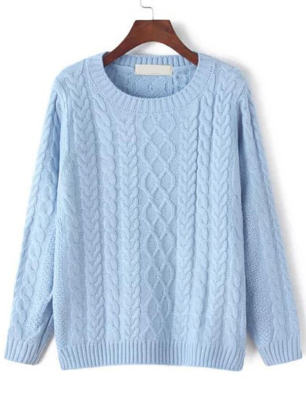 Light Blue Cable Knit Sweater on Wanelo