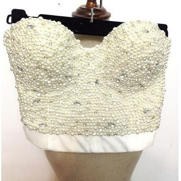 sexy High-end Hand-made Pearls Jewel Diamond Bralet Women's Bustier Bra Cropped Top Vest Plus Size AW011