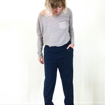 vtg 90s high waisted navy blue harem pants, stretch high waist slouchy slacks, art hoe, aesthetic, tumblr urban soft grunge, vaporwave 1980s