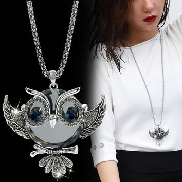 DuoTang Classic Owl Necklace Silver Color Long Popcorn Chain Animal Crystal Rhinestone Pendant Necklace For Women Gift Jewelry