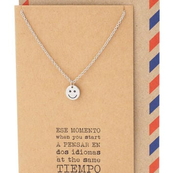 Tess Spanish Teacher Gifts Smile Emoji Necklace and Thank You Cards