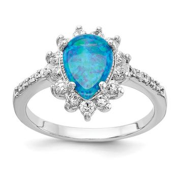 Cheryl M Sterling Silver Blue Opal Pear Halo Ring