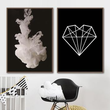 Canvas Art Print Smoke Geometric Diamond Wall Painting Nordic Posters And Prints Black White Wall Pictures For Living Room Decor