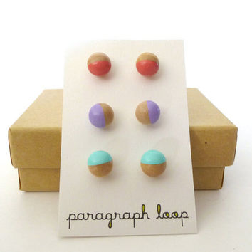 Peach, lavender and mint earring set, button post earrings, little studs, colorful earrings, gift for her