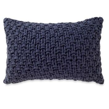 Kenneth Cole Reaction Home Fusion Knit Oblong Throw Pillow in Navy