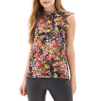 FOREVER 21 Ruffled Floral Blouse Black/Red